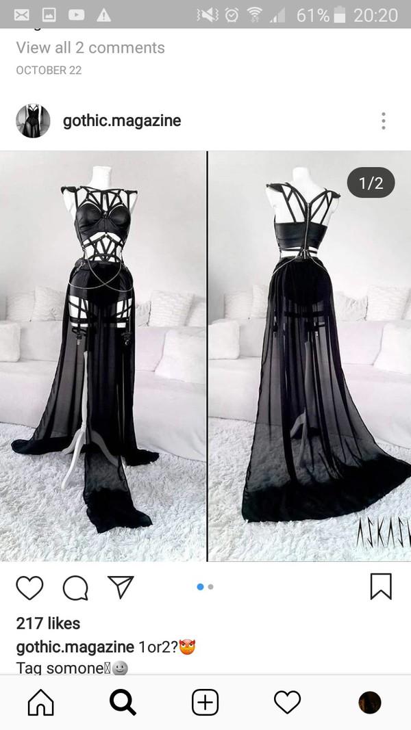 dress robe noire harness