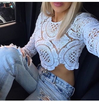 top cute top blouse style fashion outfit party outfits summer outfits date outfit spring outfits spring white top lace top see through top crop tops long sleeves long sleeve crop top ripped jeans light blue jeans jeans pants white crop tops