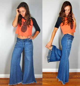 jeans hippie denim blue jeans vintage pineapple gypse high waisted old souls baseball bell bottoms