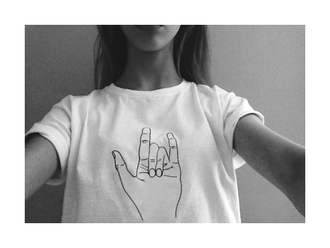 shirt graphic tee top hand rock on oh wow lovely t-shirt wow speed metal rock hipster tumblr hand sign chill peace white crop tops white crop tops beautyful hands all over unisex trendy black baggy print indie black and white bw weed weed print high waist shorts bowls punk rock mickey mouse hands tumblr shirt smoke pipe great perfect rocknroll nice cool girl style hands cool punk white t-shirt