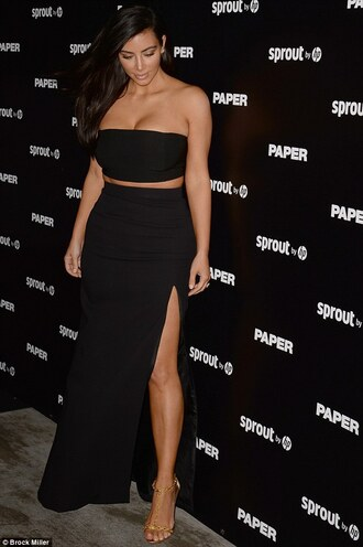 black skirt black dress kim kardashian maxi skirt tube top slit skirt dress bag slit maxi skirt
