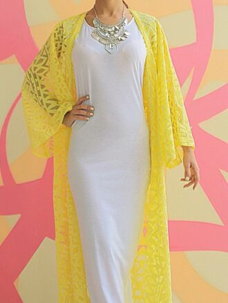 cardigan yellow long kimono tribal pattern tribal cardigan chiffon dress