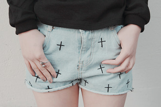 shorts cross shorts ring denim shorts