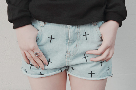 cross shorts shorts ring denim shorts