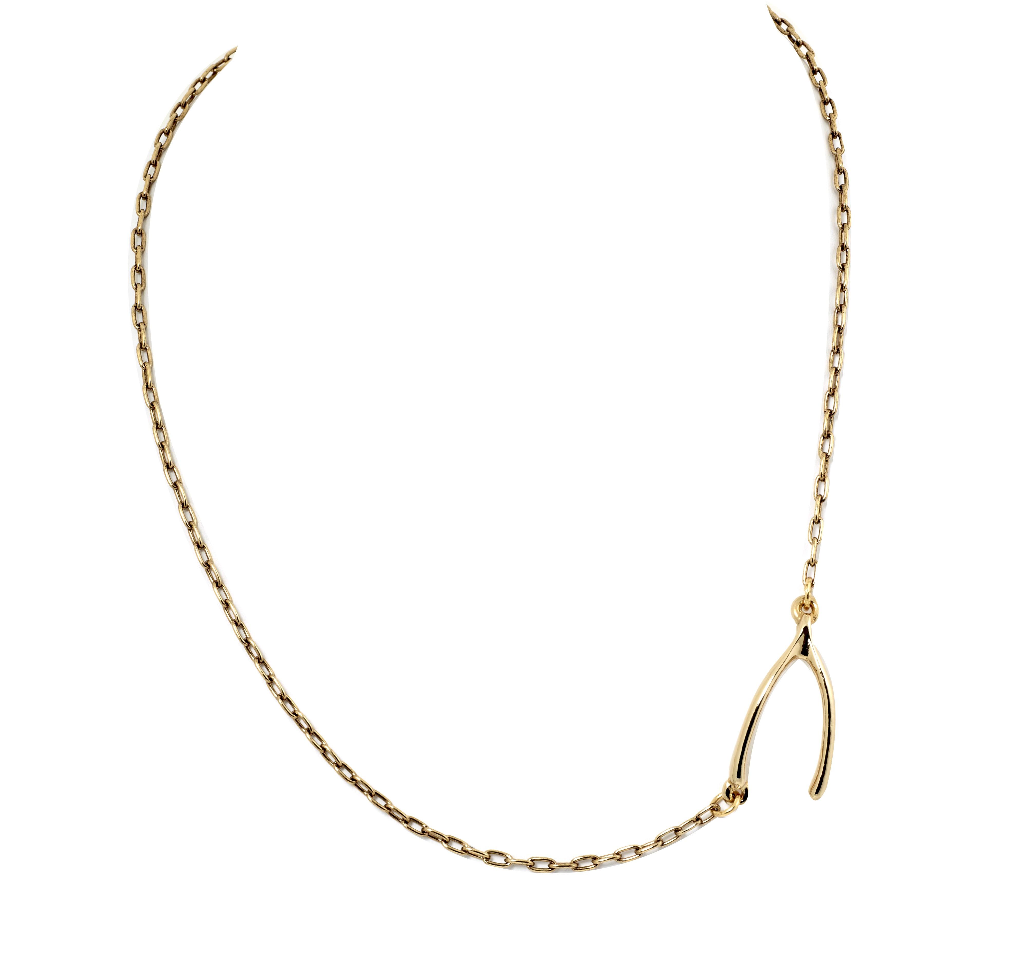 Wishbone side station necklace