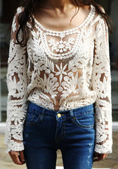 Crochet Lace Top - Beige