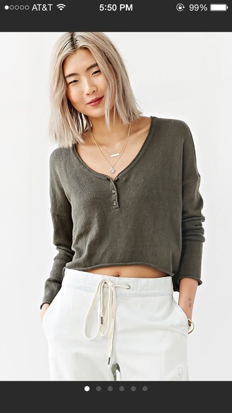 sweater green urban outfitters cropped sweater