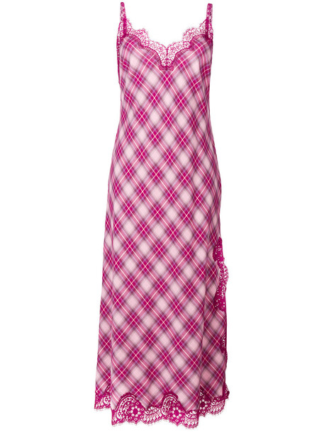 dress lace dress women lace cotton purple pink gingham