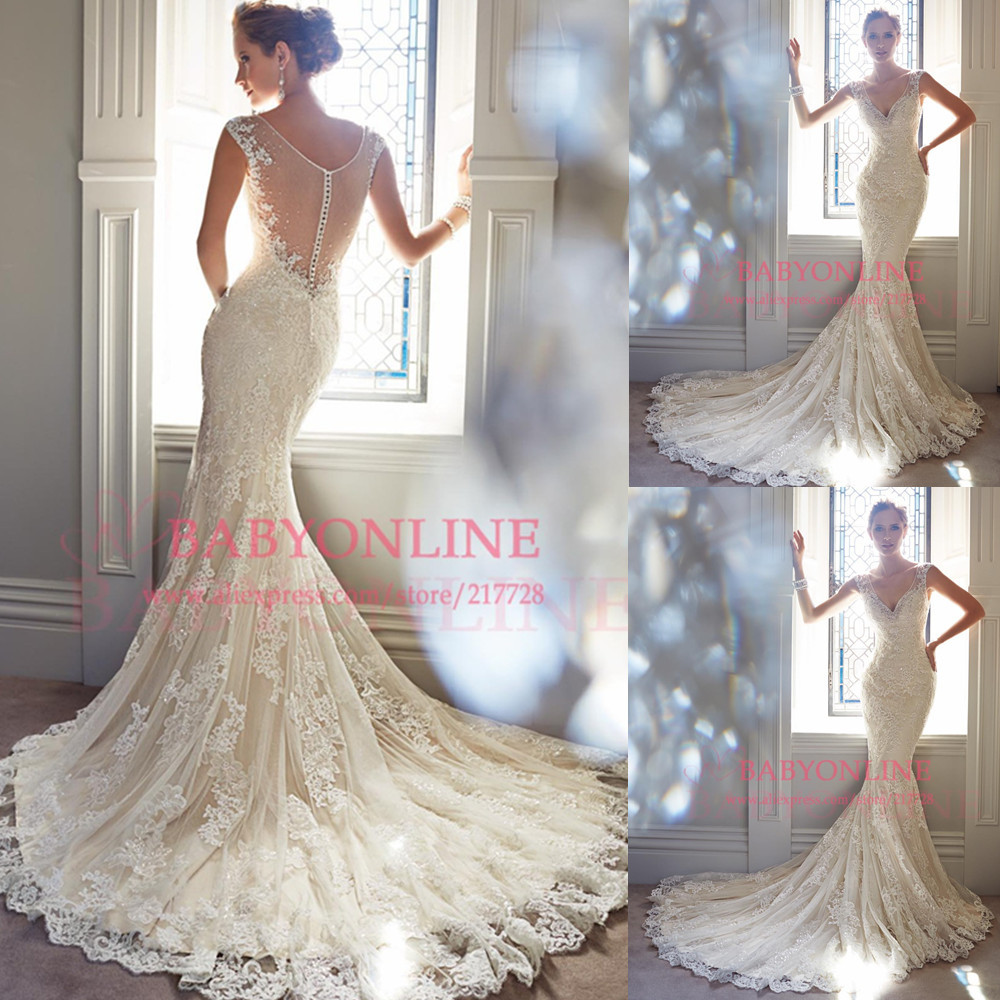 Aliexpress.com : Buy Mermaid wedding dress 2014 sheer back deep v neck romantic lace marriage dress bridal gown vestidos de novia Y21432 from Reliable dresses christmas suppliers on Dress Just For You.