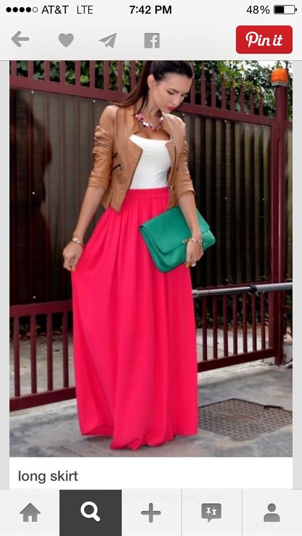 skirt maxi skirt pink skirt flowy skirt