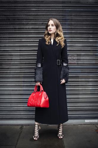 at fashion forte blogger dress jewels bag shoes long coat winter coat black coat red bag