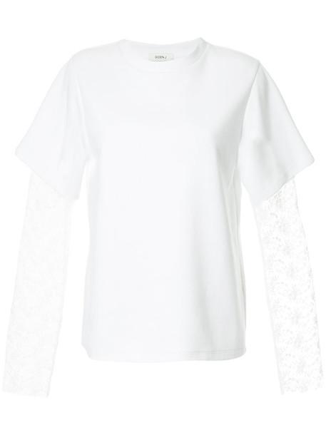 GOEN.J t-shirt shirt t-shirt women layered lace white cotton top