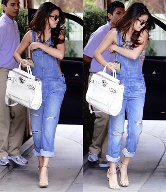 jeans selena gomez shoes high heels denim overalls