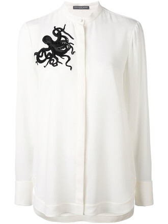 shirt women octopus embellished white silk top