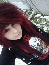 sweater,emo,pull,pullover,girl,red hair,red,black,blue,knitwear,white,bag