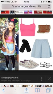 shirt,ariana grande,pink,crop tops,skirt,bag,shoes,top,leggings,black tights,spagetti strap pink crop topp