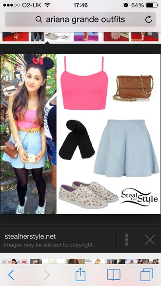 shirt ariana grande pink crop tops skirt bag shoes top leggings black tights spagetti strap pink crop topp