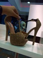 shoes,heels,rhinestones,steve madden,cute,gold,gold shoes,platform heels