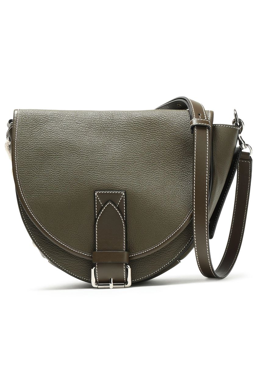 J.w.anderson Woman Bike Lace-up Smooth And Textured-leather Shoulder Bag Army Green Size --
