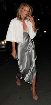 dress,rosie huntington-whiteley,gown,silk,sandals,shoes