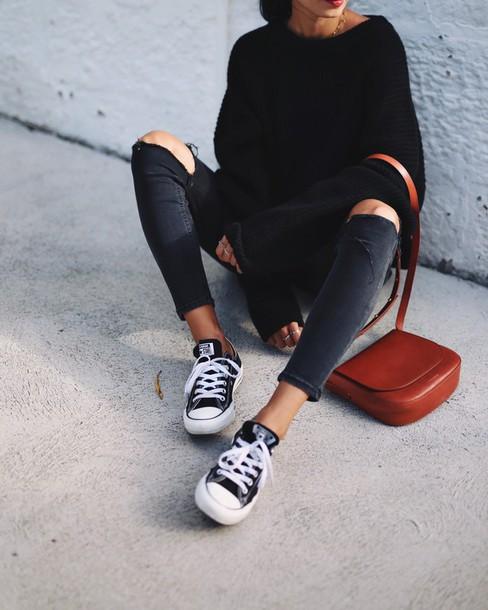 c24c5ed3caa9db bag tumblr black sweater denim jeans black jeans skinny jeans ripped jeans  black ripped jeans sneakers