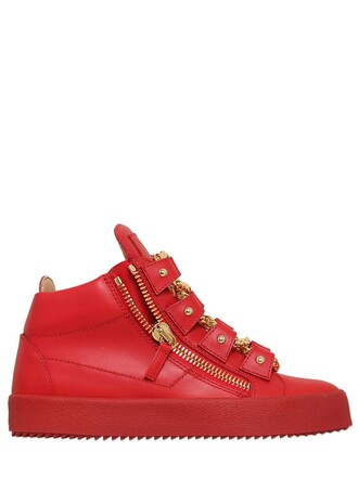 sneakers leather red shoes