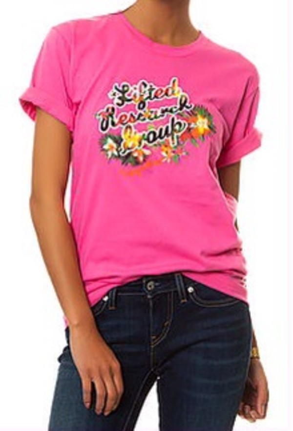 shirt lrg lifted research group pink hot pink top graphic tee graphic shirt graphic tee t-shirt