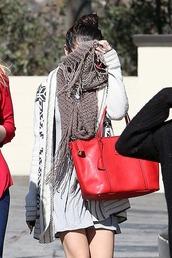 dress,selena gomez,cardigan,bag,scarf