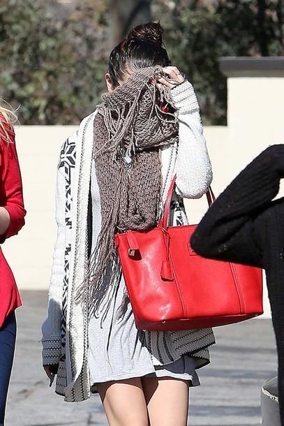 dress selena gomez cardigan bag scarf