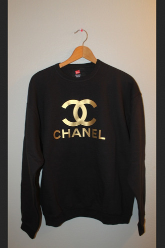 shirt black sweatshirt sweater chanel chanel inspired gold gold foil tumblr