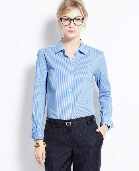 Cttn ls perfect shirt in yale stripe