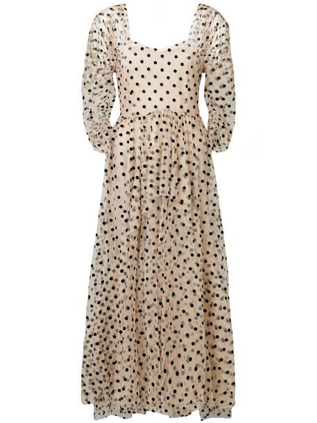 ISA ARFEN gown women nude silk dress