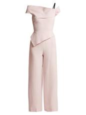 jumpsuit,peplum jumpsuit,light pink,light,wool,pink
