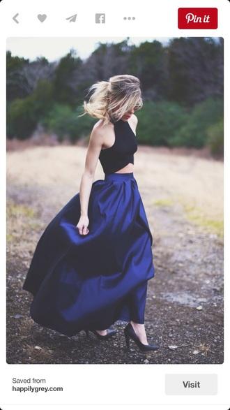 skirt blue skirt dark blue maxi skirt