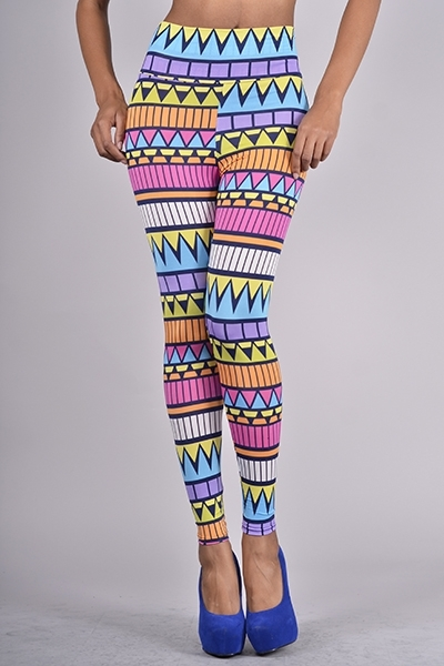 Waist Colorful Aztec Print Leggings / Fashion Junk