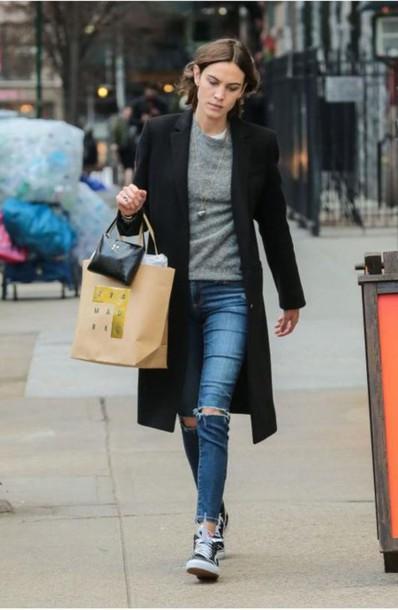 1e3f9534bef shoes sneakers jeans alexa chung coat sweatshirt fall outfits