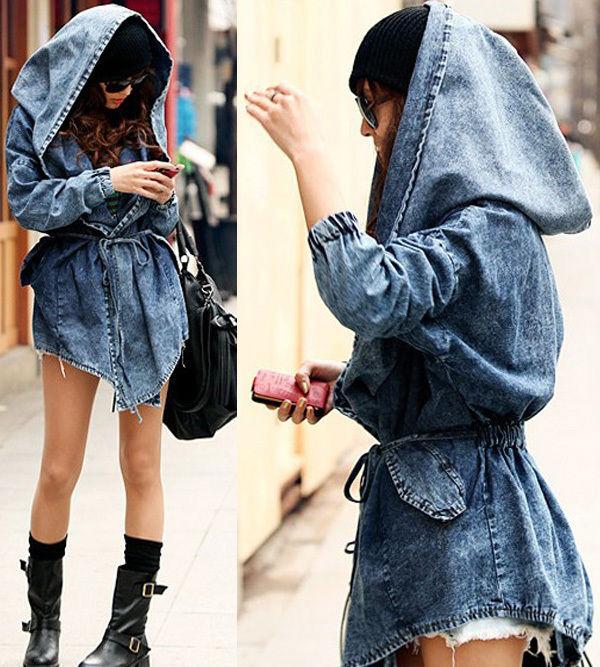 Women's Denim Trench Coat Hoodie Hooded Jean Coats Outwear Jacket Oversized Cool | eBay