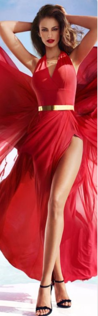 dress red long flowy slit gold belt sexy cutout v neck tall red dress crimson class classy prom