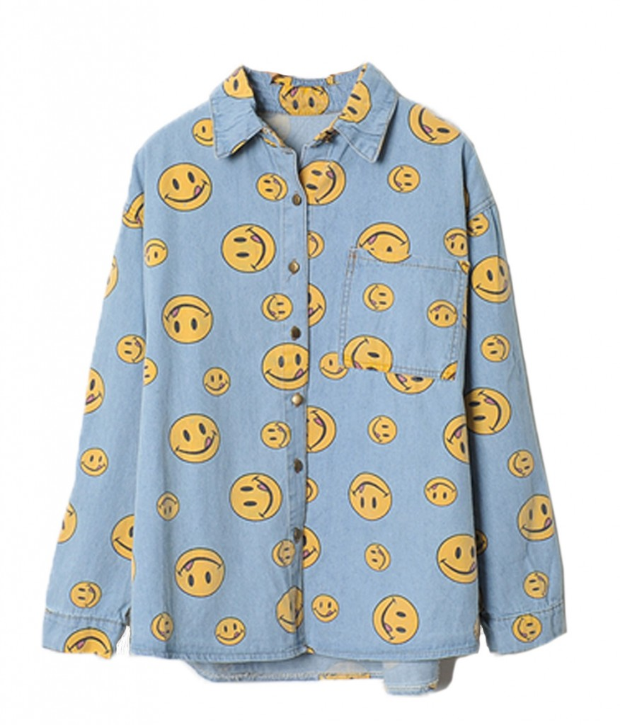 100-Smiley Denim Shirt - Caramellollypop Clothing Online