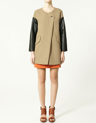 coat zara camel leather jacket