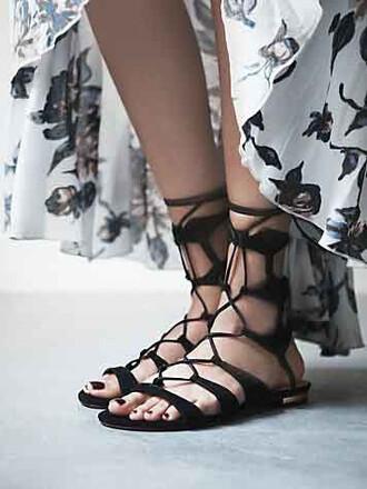 shoes sandals black trendy fashion flats summer lace up mns chiclook closet