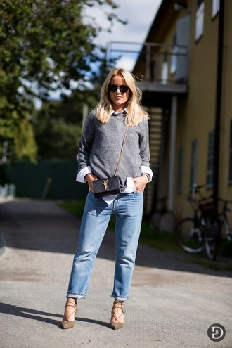 le fashion image blogger jeans grey sweater saint laurent