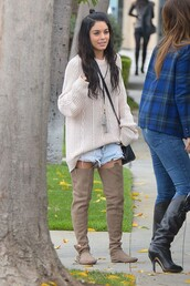 knee high boots,vanessa hudgens,sweater,shorts,shoes,gloves,flats,flat boots,boots,thigh highs,thigh-high boots,fashion,moccasins,style,browm,brown leather boots,venessa hudgens