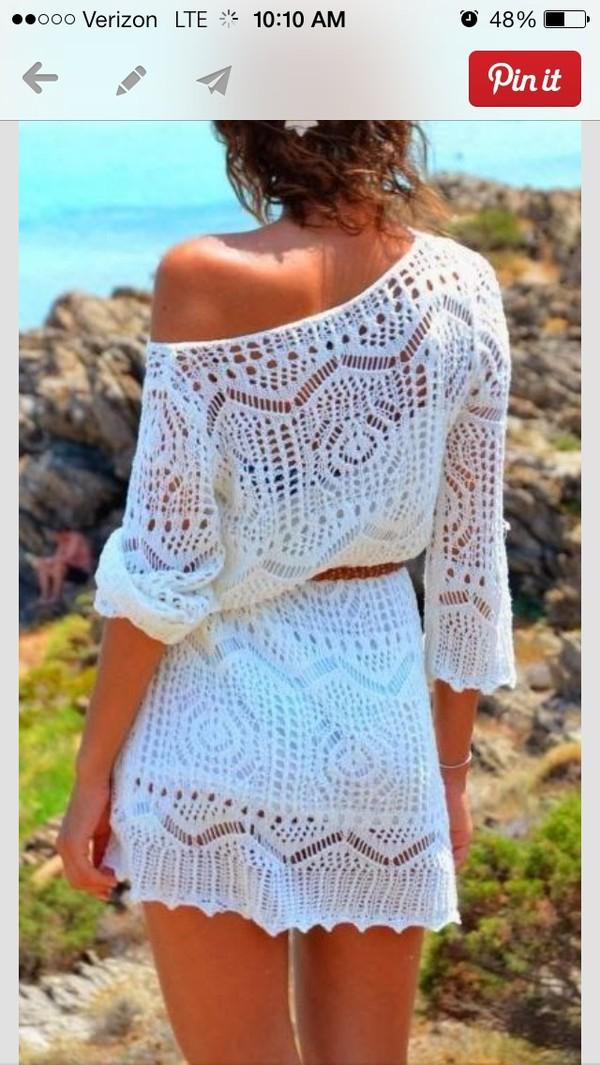 dress white dress crochet lace dress belted dress