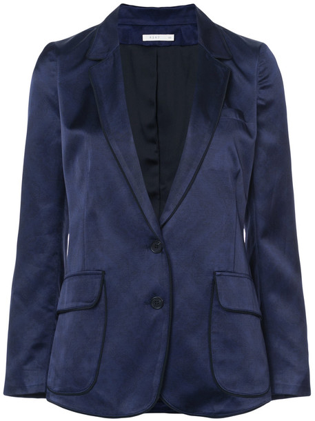 blazer women classic cotton blue wool jacket