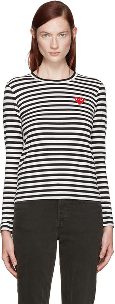 Comme Des Garçons Play Black and White Striped Heart Patch T-shirt