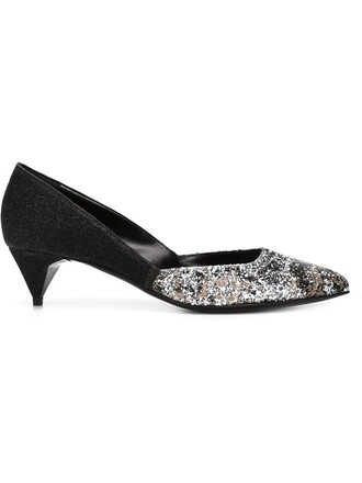heel glitter women pumps leather black shoes