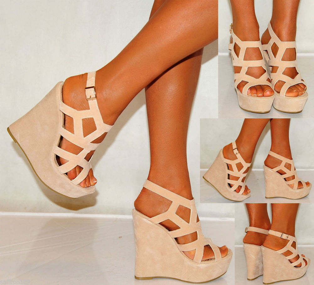 LADIES NUDE BEIGE TAN SUEDE WEDGES WEDGES SUMMER STRAPPY PLATFORMS HIGH HEELS | eBay