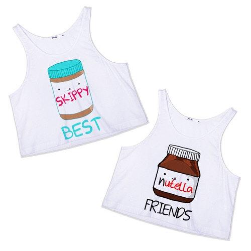 Nutella skippy best friends crop top ladies cute bestie for Peanut butter t shirt dress