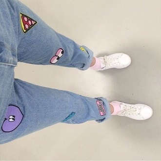jeans 90 fashion 90s jeans fashion streetwear 90s style 90s grunge mom jeans black mom jeans urban outfitters urban pastel pink urban tumblr tumblr girl tumblr clothes tumblr outfit tumblr shirt pizza jeans  blue